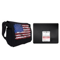 "Distressed U.S. Flag Canvas Messenger Bag with 11x14"" Level IIIA Ballistic Shield"