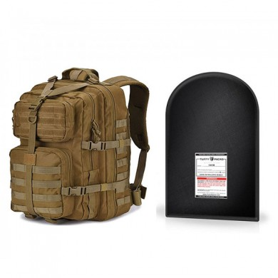 "Military Tactical Backpack, Large 3 Day Assault Pack with 12 x 18"" Level IIIA Ballistic Shield (Tan)"